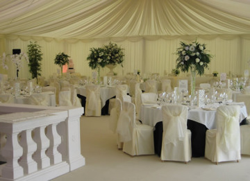 wedding reception in a marquee