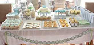 Christening table laid out with party food