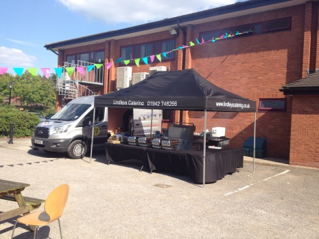 Gazebo and BBQ setup by Lindleys Catering